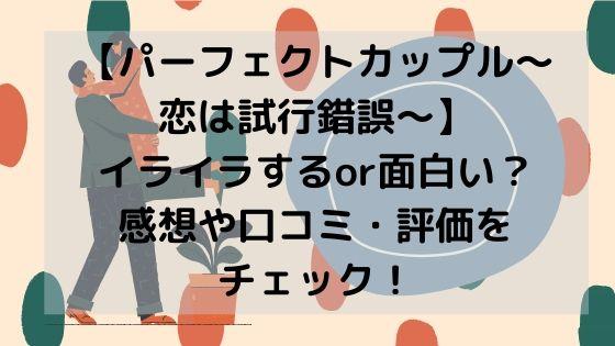 【パーフェクトカップル~恋は試行錯誤~】イライラするor面白い?感想や口コミ・評価をチェック!