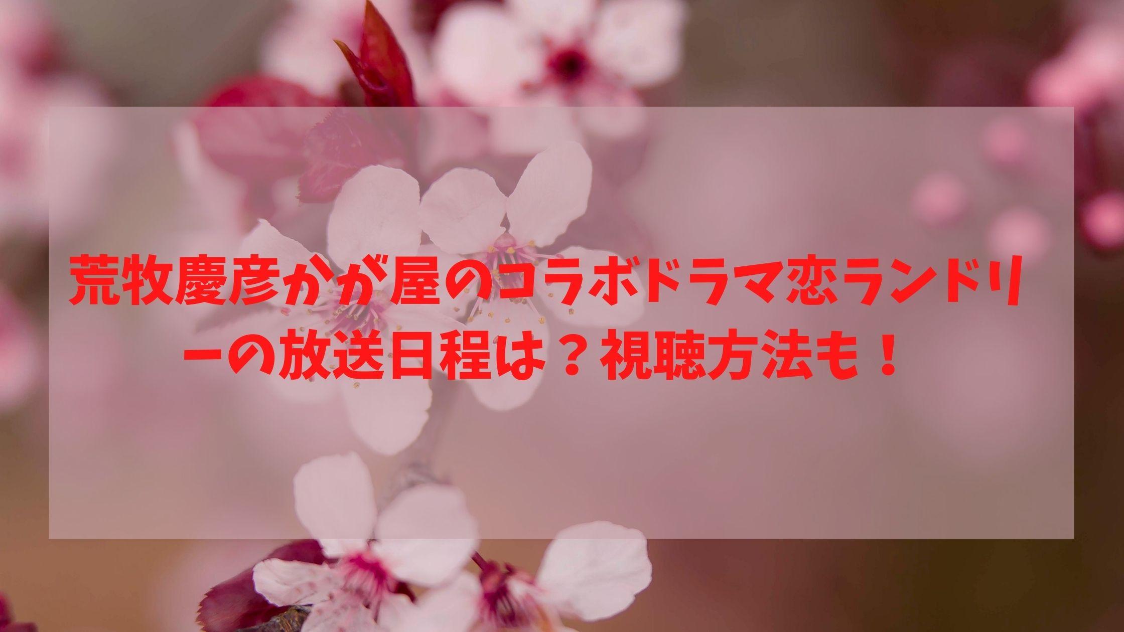 荒牧慶彦かが屋のコラボドラマ恋ランドリーの放送日程は?視聴方法も!